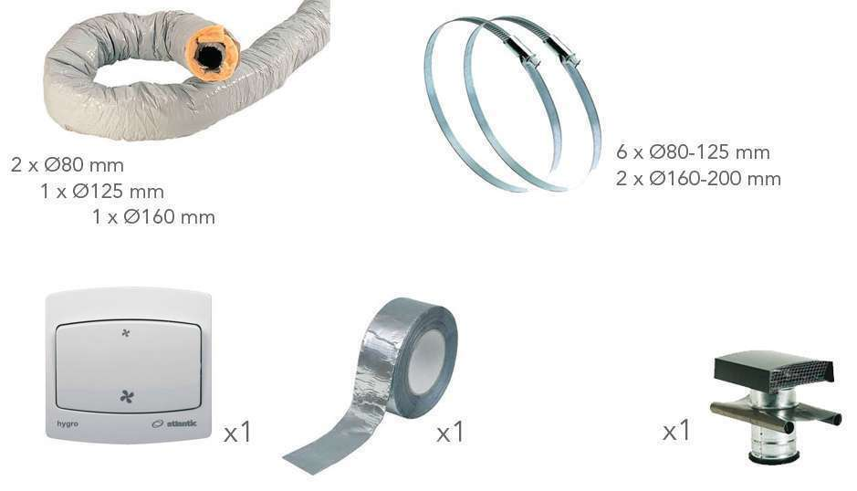 Pack accessoires VMC hygro Prise toiture ardoise