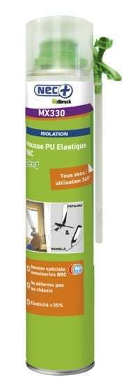 Lot de 12 aerosols mousse expansive PU pistolable élastique 750ml MX330 NEC+