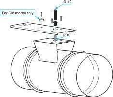 Schéma Platine de montage motorisation registre RGE à joints Aldes