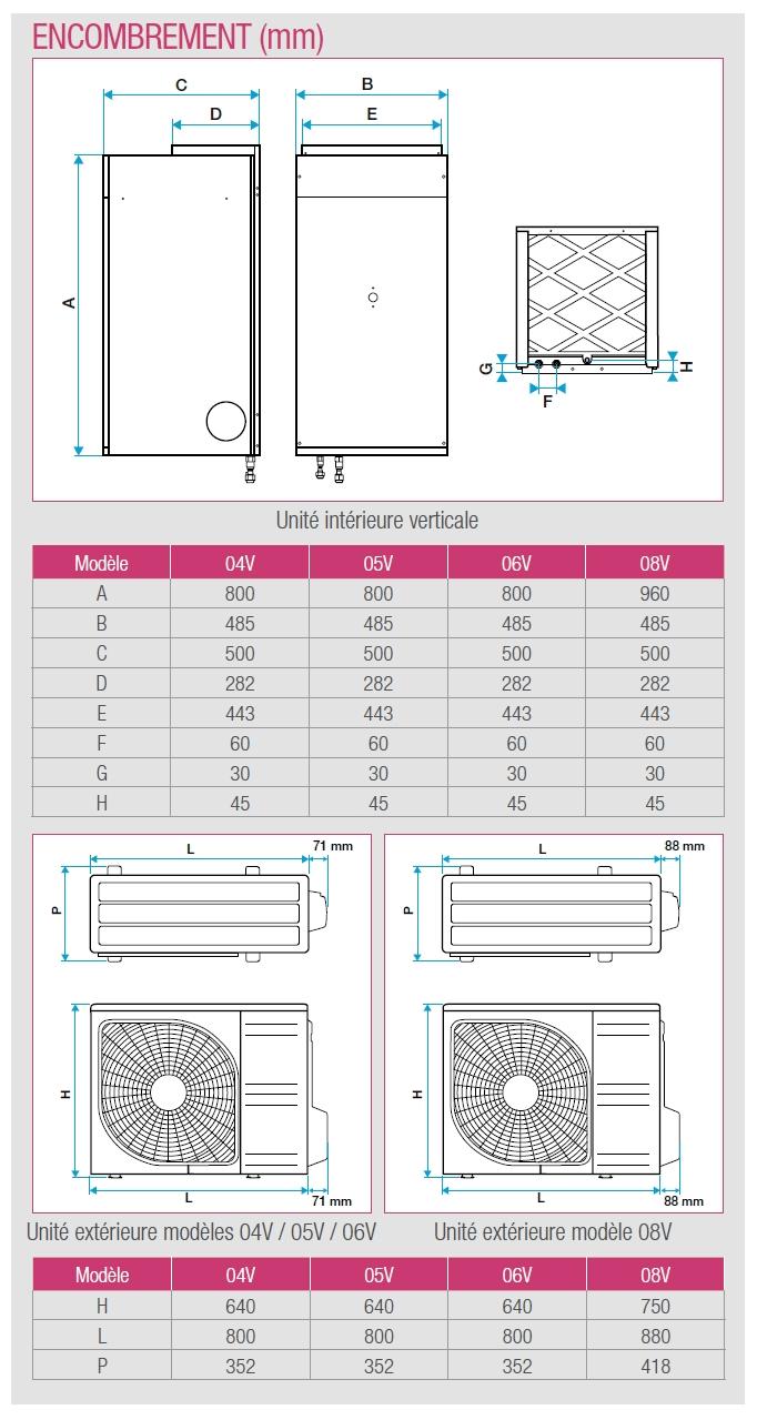 t.one aldes vertical dimensions